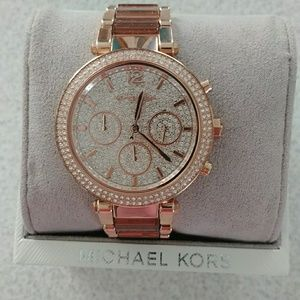 5fffef2fa4ea Michael Kors Accessories - Michael kors Mk6285 Parker crystal rose gold  watch